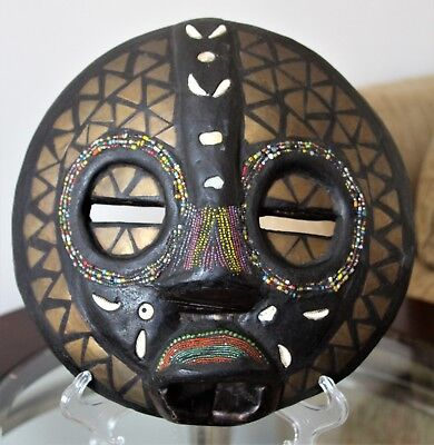 "Vtg African Tribal Mask~Ashanti~Hand Carved~Beaded~Wood~Metal~Cowry~Ghana~11""D"