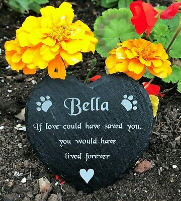 Personalised Slate Heart Pet Memorial Grave Marker Engraved Plaque Dog