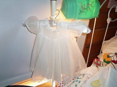 Vintage 40s 50s GIRLS baby dress doll white lace  full bottom slip party organza