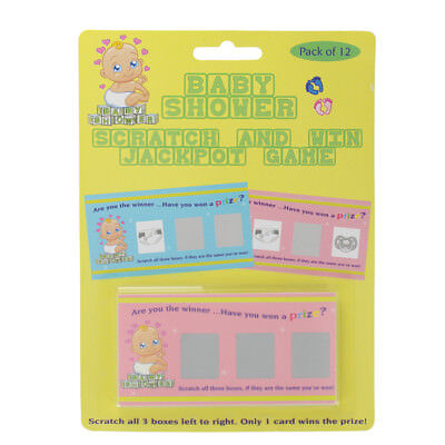 Baby Shower Jackpot Card Game - Scratch and Win Accessory Gift - 12 pc