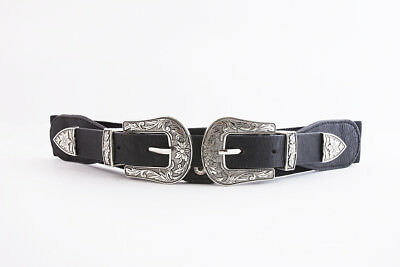 Women's Black and Antique Silver Tone Engraved Double Buckle Belt