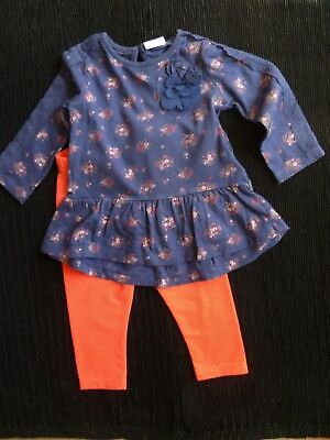 Baby clothes GIRL 6-9m outfit dress-style long sleeve navy top/neon pink legging