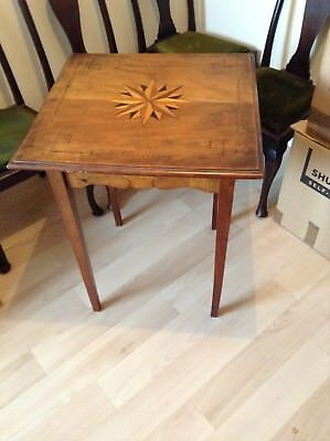 Edwardian fruitwood marquetry inlay tea, side, card, end or occasional table