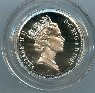 GREAT BRITAIN 1987 ONE POUND SILVER COIN IN CAPSULE~PROOF ~WITH BOX   *hucky*