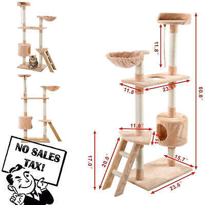 "New 60"" Cat Tree Tower Condo Furniture Scratch Post Kitty Pet Play House Beige"