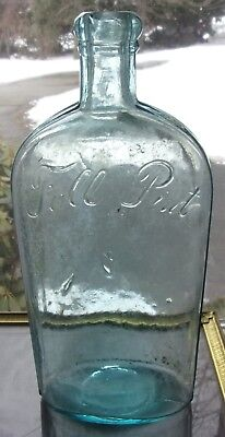 "Antique Aqua Glass ""FULL PINT"" Strap Sided Whiskey Flask Bottle Wavy Glass Nice!"
