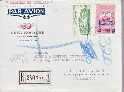 1948 Syria #219,#RA7 on Damascus Registered Cover to London England *d