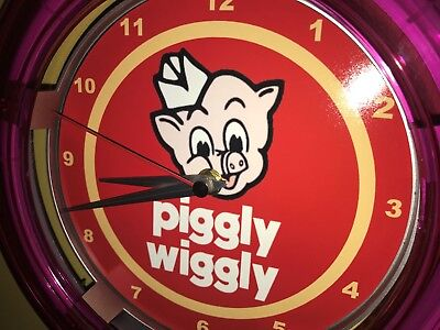 ^^^Piggly Wiggly Grocery Store Kitchen Diner Advertising Neon Wall Clock Sign