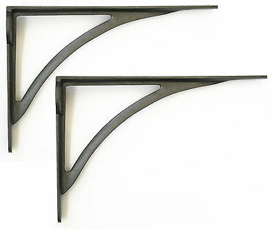 "Pair Cast Iron Victorian Ironbridge Shelf Brackets Simple Arch Bracket 10"" 25cm"