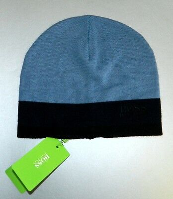 48ef4e3a46bdde Hugo Boss Men's Logo Beanie Wool Blend Hat Scull Cap Blue Navy One Size New