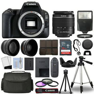 Canon EOS 200D / Rebel SL2 SLR Camera + 3 Lens Kit 18-55mm + 16GB + Flash & More