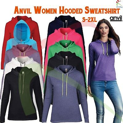 e1327825e61 ANVIL WOMENS LIGHTWEIGHT Long Sleeve Hooded Tee Casual Semi-Fitted T-Shirt T  TOP -  11.12