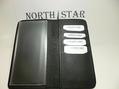 North Star Black 4 Slot Credit Card Leather Checkbook Cover-Made In USA-1st#132C