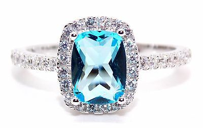 Sterling Silver Sky Blue Topaz And Diamond 3.6ct Ring (925) Size 6 (L) Free Box
