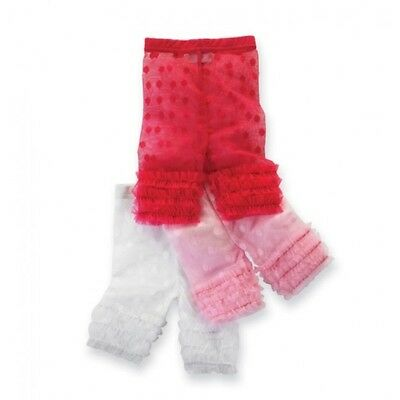 MUD PIE 12-18 MONTHS HOT PINK DOT LACE CAPRI LEGGINGS Baby Girls Ruffles