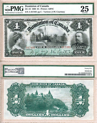 Scarce 1900 $4 Dominion of Canada with Sault Ste .Marie Locks PMG VF25. DC-16