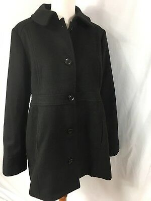 Motherhood Maternity Coat Black Fully Lined Empire 2 Buttons Size M A8
