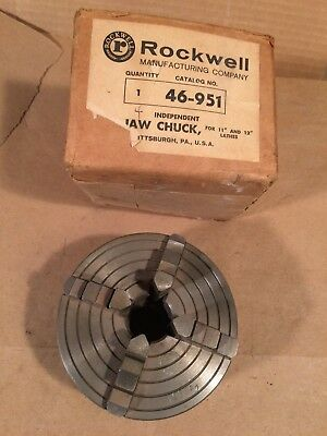 """Rockwell (USA) 4 Jaw Chuck for Atlas Craftsman Lathe #46-951 4"""" With Box No key"""