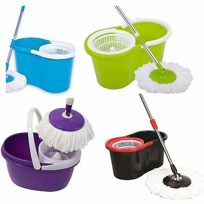 360° Rotating SPINNING SPIN MOP BUCKET WITH ADJUSTABLE HANDLE WITH 3 HEADS