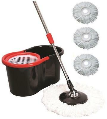 360° Rotating Floor Magic Spin Mop Bucket With Adjustable Handle With 3 Heads