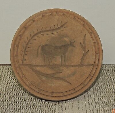 Primitive Antique or Vintage Wood Butter Stamp with Cow Decoration