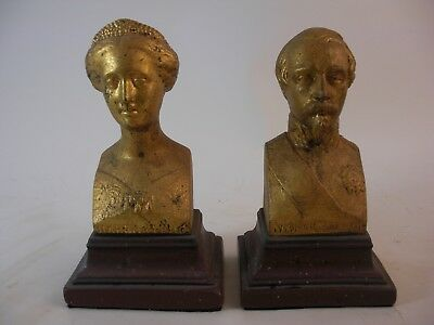 Napoleon III Bust Bookends Gold Gilt Faux Porphry Marble French Grand Tour Style