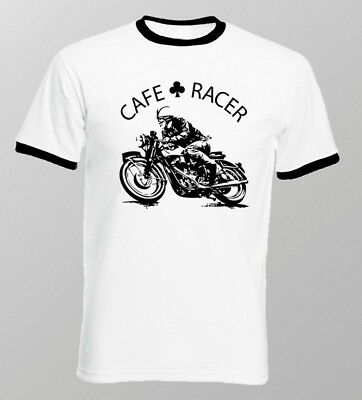 Cafe Racer classic Motorcycle triumph norton enfield white ringer t-shirt FN9168