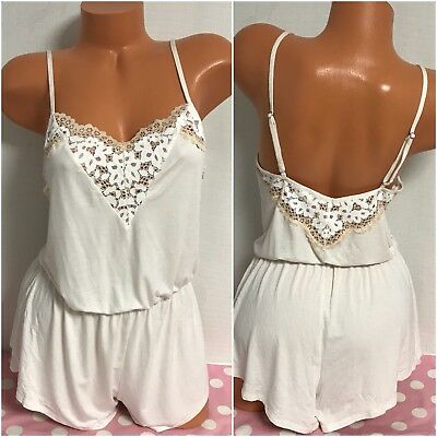NWT Victoria's Secret Lace One Piece Romper Teddy Lingerie Size Small New V2