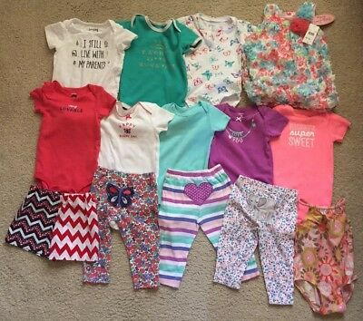Baby Girl 12 Month Mixed Lot Carter's Oufits Clothes Swimsuit Dress Lot