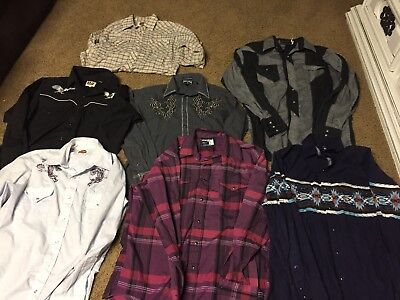 Lot Men's 7 Western Long Sleeve Pearl Snap Button Front Shirts Size M