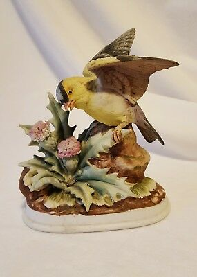 Vintage Porcelain Goldfinch Bird with Thistle Figurine, Andrea by Sadek, Japan