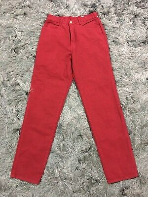 "Vtg Bergamo Ultra High Waist Red Denim Mom Jeans Sz 13 28""W Grunge Retro Hipster"