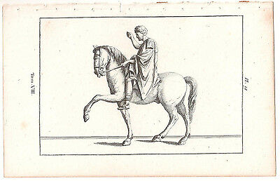1780 Antique Copperplate Print-Man On Horse Print