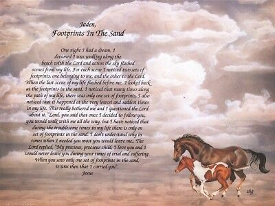 """Footprints in the Sand"" Inspirational Christian Poem Print"