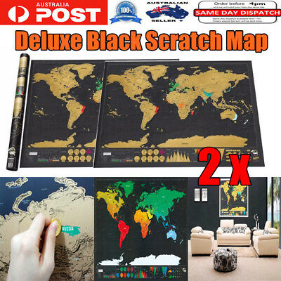 2PC Deluxe Scratch World Map Personalized Travel Poster Travel Atlas Decor Large