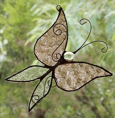 CRYSTAL CHAMPAGNE PINK BUTTERFLY Stained Glass Suncatcher ANTIQUE RECYCLED GLASS