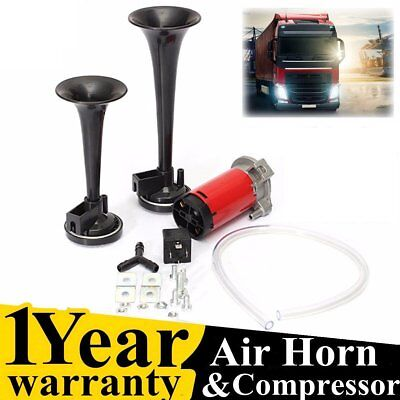 12V 178DB Dual Trumpet Air Horn Horns Super-loud For Truck RV Car Train black ME