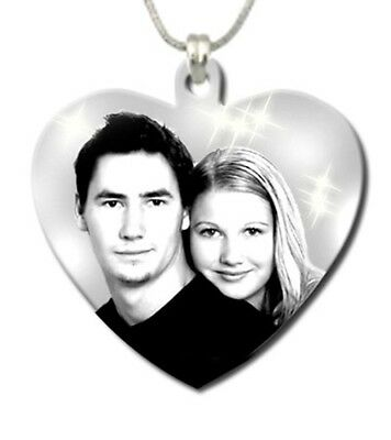 Personalised Photo Engraving pendant Stainless Steel heart shape 27mm x27mm