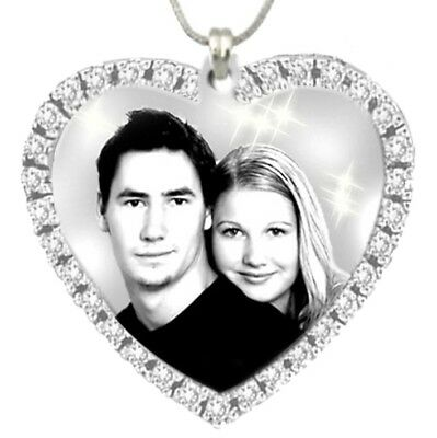 Personalised Photo Engraving pendant Stainless Steel heart stone 33mm x33mm