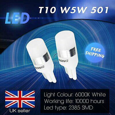 2x W5W 501 T10 2 SMD SAMSUNG Chip LED Parking Sidelight Number Plate Light White