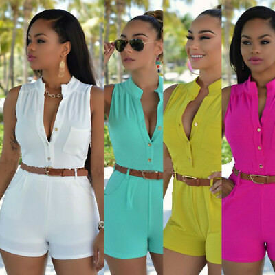 Jumpsuit Romper Trousers Shorts Women Clubwear Summer Playsuit Bodycon Party