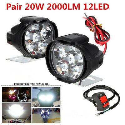 2x Universal 20W 12LED 2000LM Motorcycle Headlight Driving Fog Spotlight +Switch