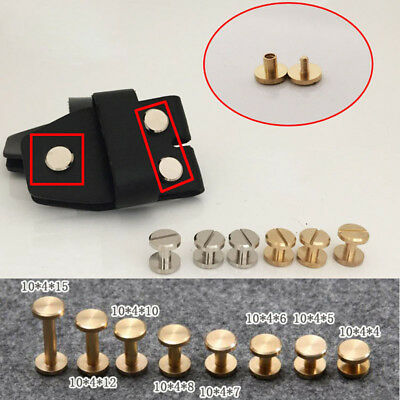 10mm Flat Belt Screw Leather Craft Chicago Nail Brass Solid Rivets Stud Head AU