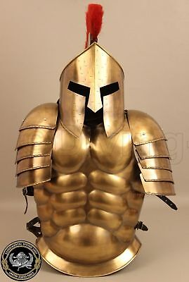 Halloween Costumes Brass Finish Medieval Muscle Armour Suit Spartan Helmet