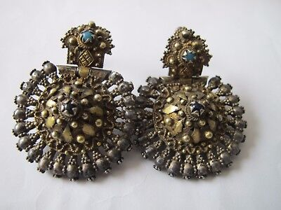 Antique Ancient Medieval Byzantine Fine Silver Gold Gilt Drop Earring Pair