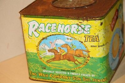 RACE HORSE TEA TIN vintage store bin ADVERTISING sign EQUESTRIAN JOCKEY LARGE