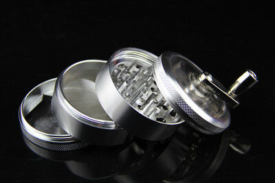 100%New Silver 4 part Hand Crank  Herb Spice Grinder Crusher USA