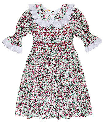 "Aurora Royal Girls  "" Blossom"" Hand Smocked Floral Printed 3/4 sleeves dress"