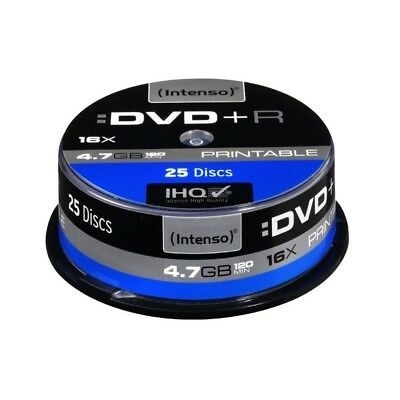 Pack de 25 DVD+R 4.7 GB 16x Speed Intenso imprimable - Neuf