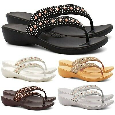 Ladies Womens Low Heel Wedge Summer Diamante Flip Flop Toe Post Sandals Shoes Sz